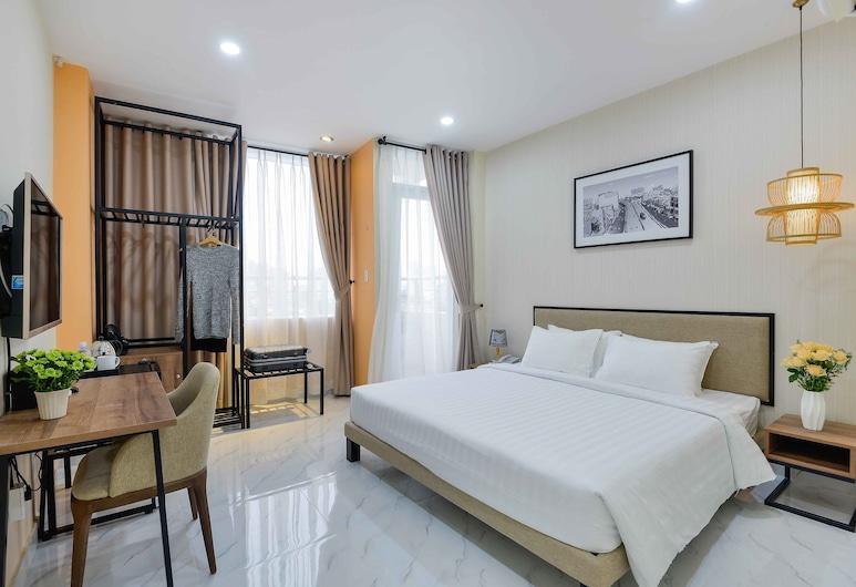 海水珍珠西貢中央飯店, 胡志明市, 豪華雙人房, 1 張特大雙人床, 陽台, 客房