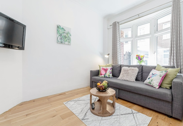 Charming Covent Garden Apartment, London, Comfort-Apartment, 1 Schlafzimmer, Stadtblick, Wohnbereich