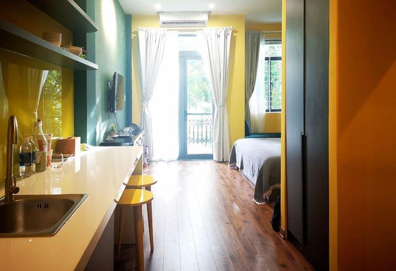Benzen Boutique Stays Hostel and Apartment, Da Nang, Pokój dwuosobowy typu Deluxe, Łóżko king, kuchnia, Pokój z kuchnią