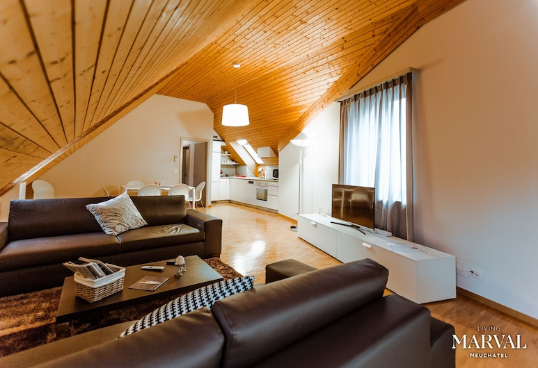 Les Galeries Marval, Neuenburg, Superior-Apartment (Samuel de Marval Cleaning Fee CHF200), Wohnzimmer