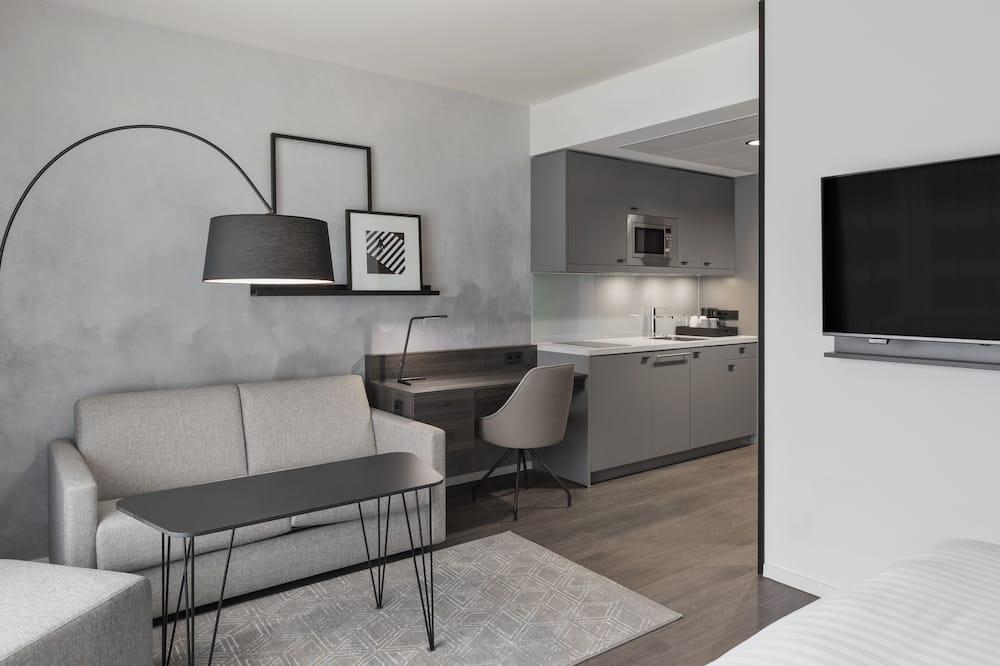 Comfort studio, 1 queensize bed, niet-roken, Uitzicht op de stad - Woonruimte