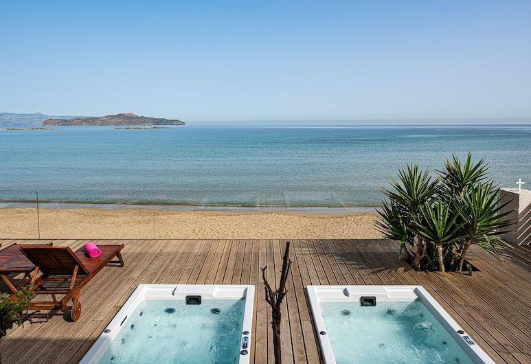 Glaros Luxury Villa, Chaniá, Villa, 3 Quartos, Em frente à praia, Terraço/Pátio Interior