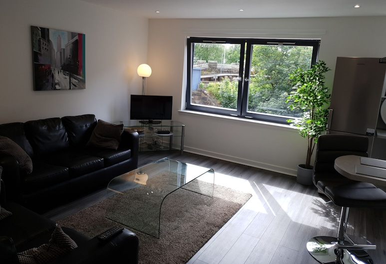 The Point Glasgow 2 Bed Apartment, Glasgow, Apartment, mit Bad, Lounge