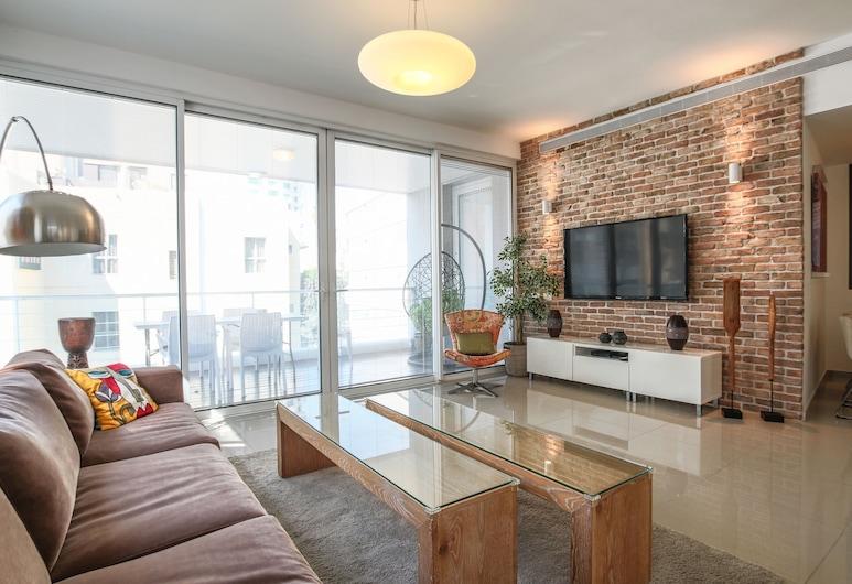 高標準海濱公寓酒店 - 附停車場, 特拉維夫, 奢華公寓, 客廳
