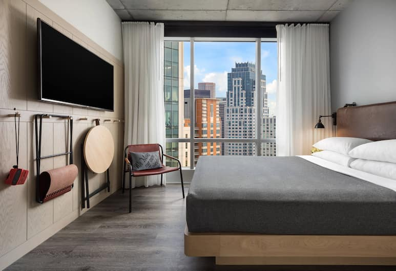 Moxy Boston Downtown, Boston, Room, 1 Queen Bed, City View (Center Stage), Guest Room