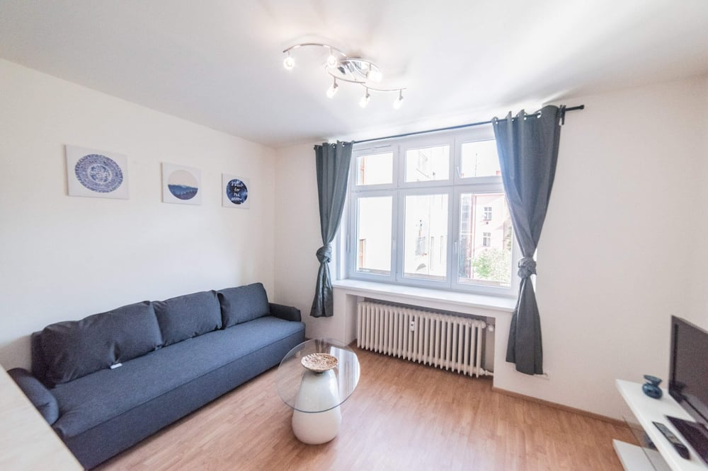 Departamento, 1 cama Queen size con sofá cama (Vltavska 8) - Sala de estar
