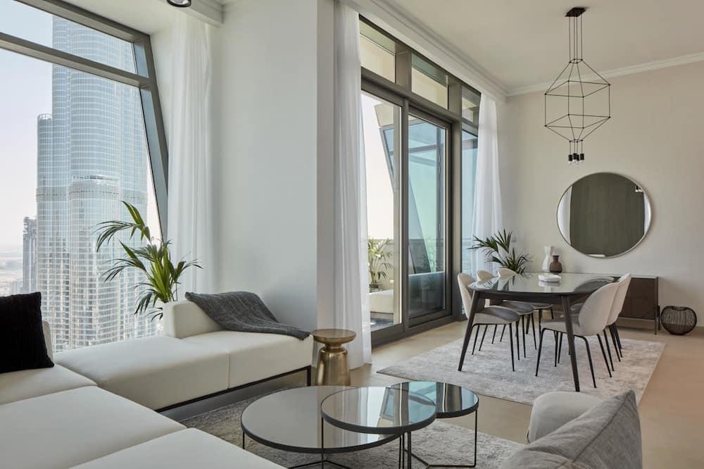 شقة - ٣ غرف نوم (Burj Khalifa View) - منطقة المعيشة