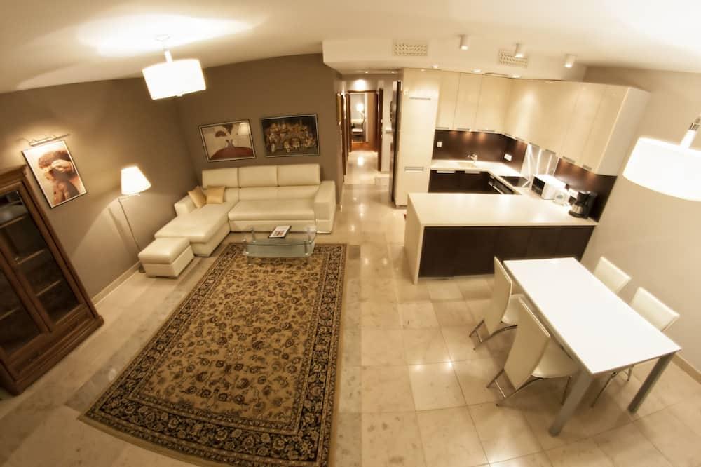 Deluxe-Apartment, 2Schlafzimmer, Terrasse (for 7 people, Biskupia Street) - Wohnbereich