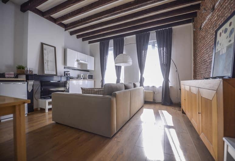 Aparthotel Van Hecke, Antwerp, Deluxe Süit, Oturma Alanı