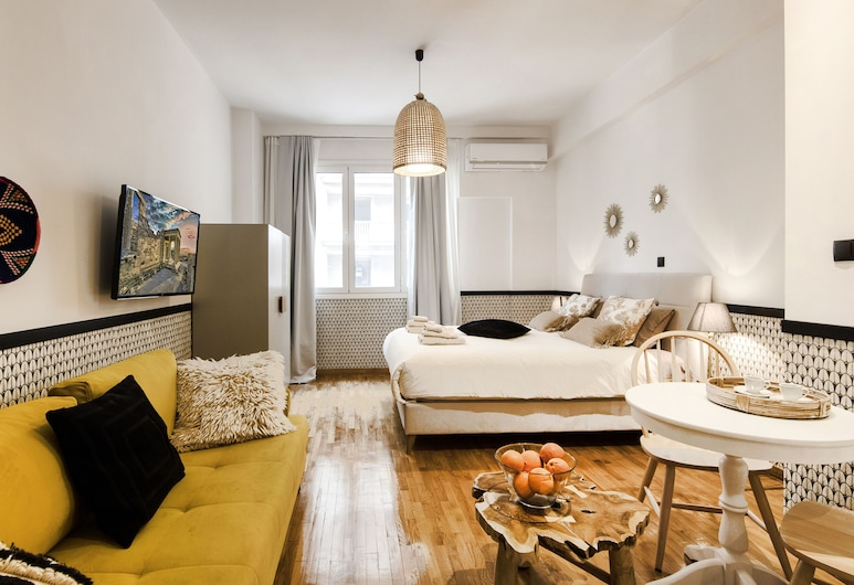 Designer renovated apt- downtown Athens by VillaRentalsgr, Athens, Design Studio, 1 Double Bed with Sofa bed, Non Smoking, Refrigerator, Living Area