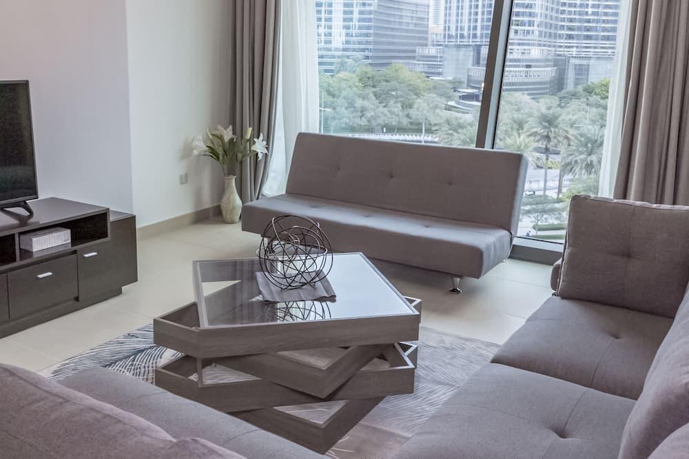 Căn hộ Deluxe, 1 phòng ngủ, Ban công, Quang cảnh thành phố - Khu phòng khách