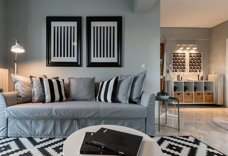 140m² homm New Penthouse With Acropolis View 11ppl, เอเธนส์, อพาร์ทเมนท์, 4 ห้องนอน, ห้องนั่งเล่น