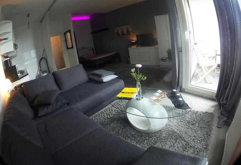Ferienwohnungen Bormacher, Düsseldorf, Apartamentai, balkonas, Svetainės zona