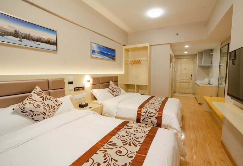 Yue Tu Apartment Hotel, Guangzhou, Deluxe Twin Room, Balcony, Guest Room
