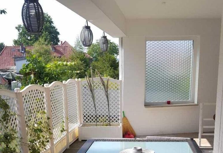 4 Jahreszeiten, Lauenava, Komforta dzīvokļnumurs, virtuve, skats uz dārzu, Terase/iekšējais pagalms