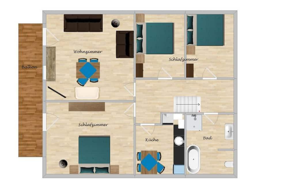 舒適公寓客房, 3 間臥室 - 客廳