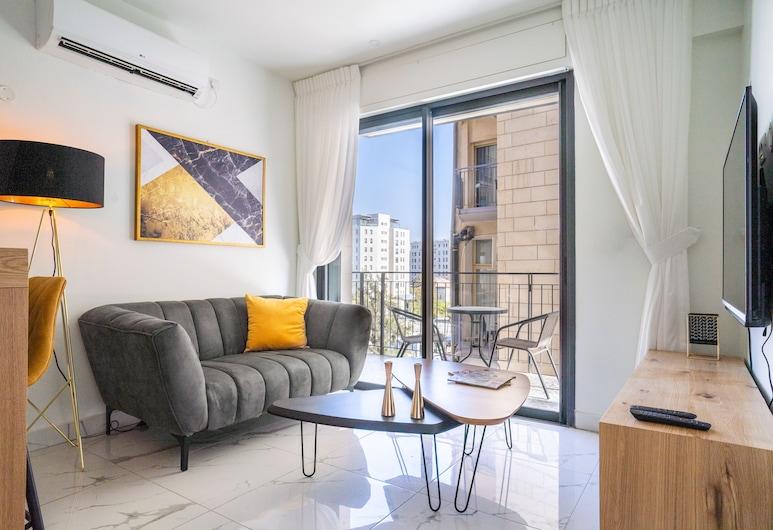 Eshel Suites, Jerusalem, Suite – deluxe, 1 soverom, utsikt mot byen, Stue