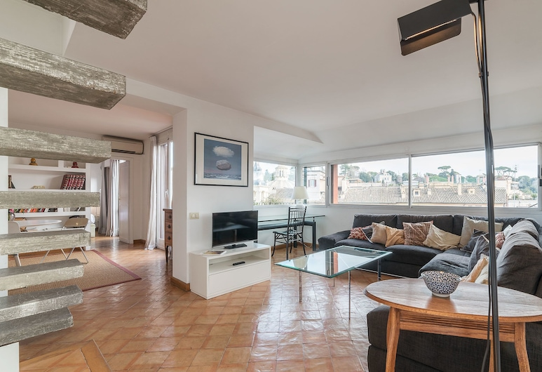 Paradiso Penthouse, Rome, Apartment (2 Bedrooms), Living Area