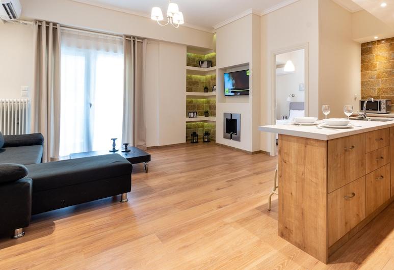 Contemporary Apartment made of Wood and Stone, Atenas, Apartamento, Área de estar