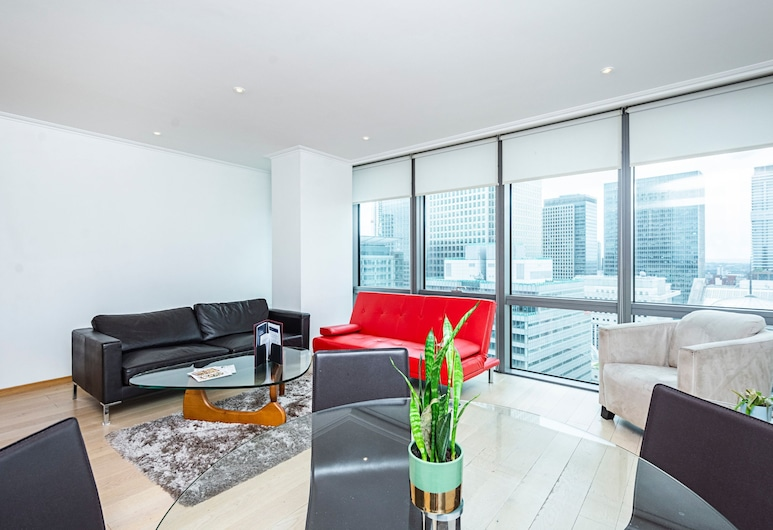 Stylish Apartment With Panoramic Docklands Views, London, Wohnzimmer