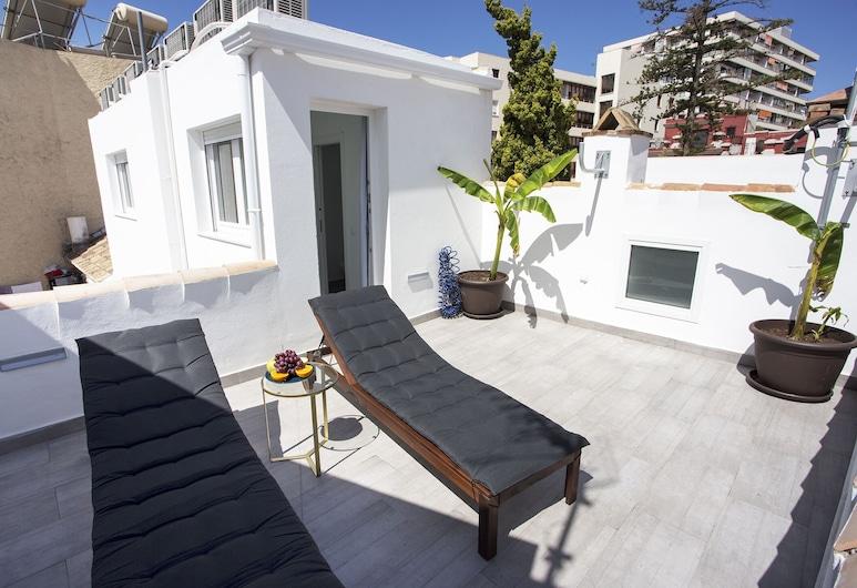 Banana & Tropycal Apartment, Torremolinos, Studio - terrass - utsikt mot staden, Terrass
