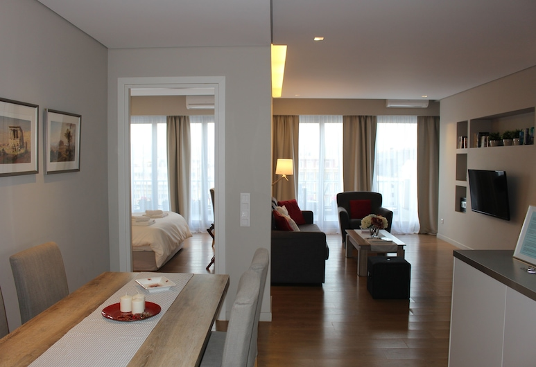 Central Athens Loft, Athens, Deluxe Apartment, 2 Bedrooms, Living Area