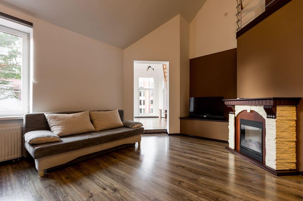 Departamento de diseño, 1 cama Queen size con sofá cama, vista al mar - Sala de estar