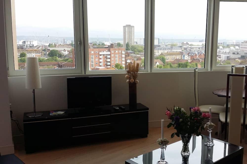 Apartmán s panoramatickým výhľadom, 1 spálňa, kuchyňa, výhľad na prístav - Obývačka