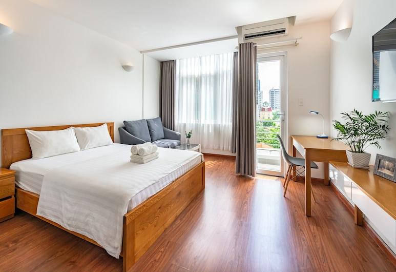 Saigon One Service Apartment, Ho-Chi-Minh-Stadt, Luxury-Apartment, Balkon (2nd Floor), Wohnzimmer