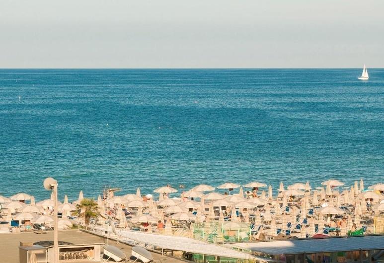 Hotel Caraibi, Cervia, Vierbettzimmer, Balkon, Meerblick, Ausblick vom Zimmer
