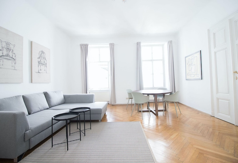 HeyMi Apartments Stadtpark, Wenen, Superior appartement, 2 slaapkamers (23, incl. cleaning fee 50 EUR), Woonkamer
