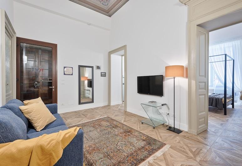 Apartments To Art Bollati, Turin, Deluxe-Apartment, 1 Schlafzimmer, Balkon, Wohnzimmer