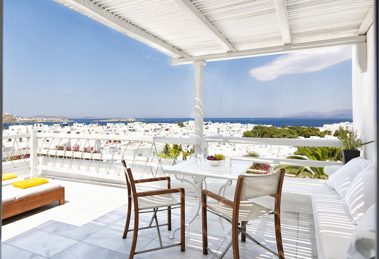 Belvedere Hotel, Μύκονος, Panoramic Δωμάτιο, Θέα στη Θάλασσα (Private Sundeck), Μπαλκόνι