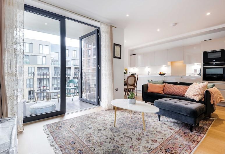 Modern Cambridge Road Gem, Londýn, Apartmán typu Deluxe (1 Bedroom), Obývačka