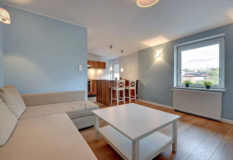 Grand Apartments - Błękitny, โซพอต, อพาร์ทเมนท์, ห้องนั่งเล่น