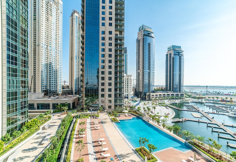 Lux BnB Dubai Creek Residences, Dubai, Deluxe-lejlighed - 2 soveværelser, Strand-/havudsigt