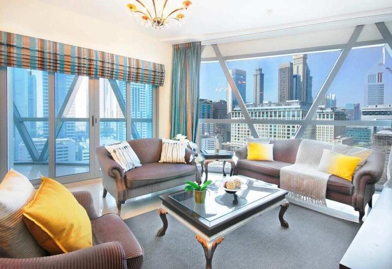 Spacious Apartment in the Classic Park Towers, Dubajus, Svetainė