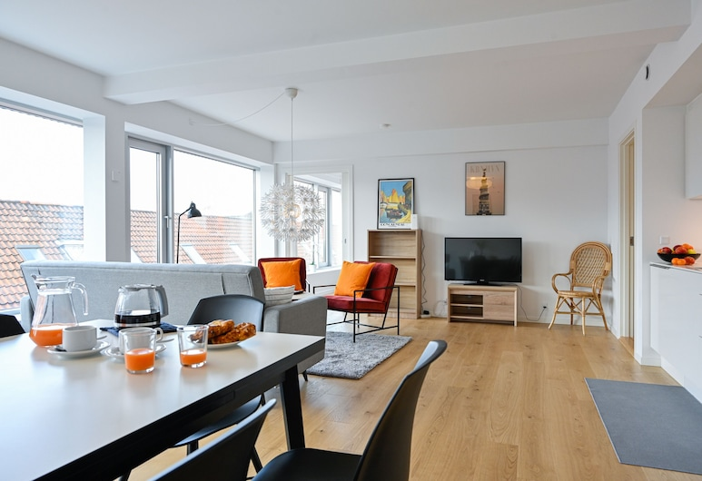 A Spacious Modern 3-bedroom Apartment in Copenhagen Nordhavn, Kodaň, Obývací prostor