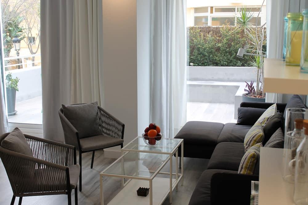 Külaliskorter, 2 magamistoaga, terrass - Elutuba