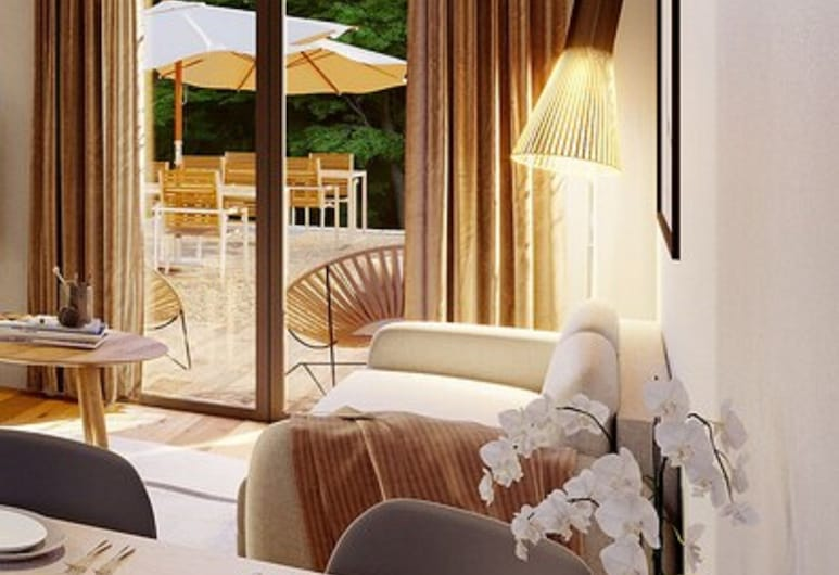 La Grange des Pères, Annecy, Pagerinto tipo apartamentai, terasa, Svetainės zona
