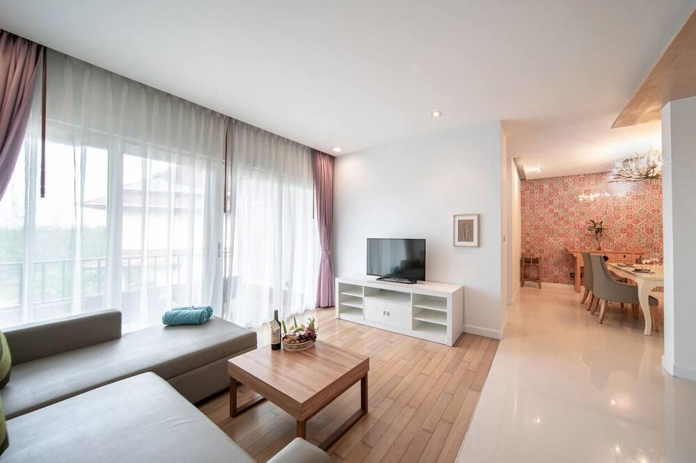Exclusive-Doppelzimmer, 1 Schlafzimmer, Poolblick - Wohnzimmer