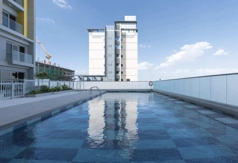 Pleasant 1BR Apartment in Arjan Privà Living, Dubaj, Basen