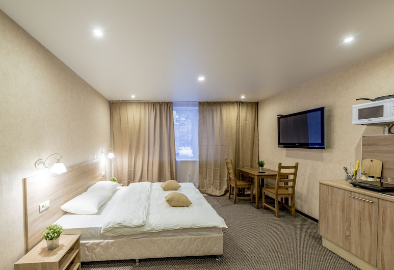 Myhotel24 Kristalin, Moskwa, Studio Deluxe, Łóżko queen i sofa, Pokój