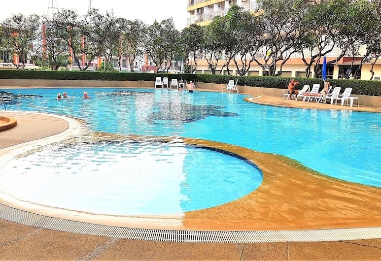 Sea View Studio Jomtien Beach, Pattaya, Căn hộ, 1 giường cỡ queen và sofa giường, Hồ bơi