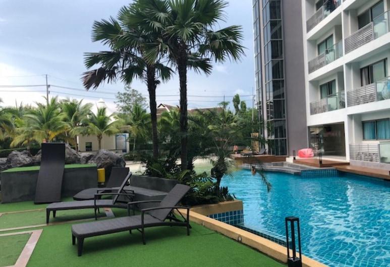 Laguna Beach Resort 1 Jomtien, פטיה, דירה, מיטת קווין וספה נפתחת, בריכה
