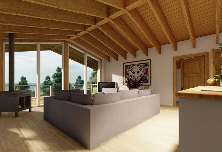 Haida House at Tllaal, Tlell, Pokoj typu Premium, více lůžek, výhled na oceán, Obývací prostor