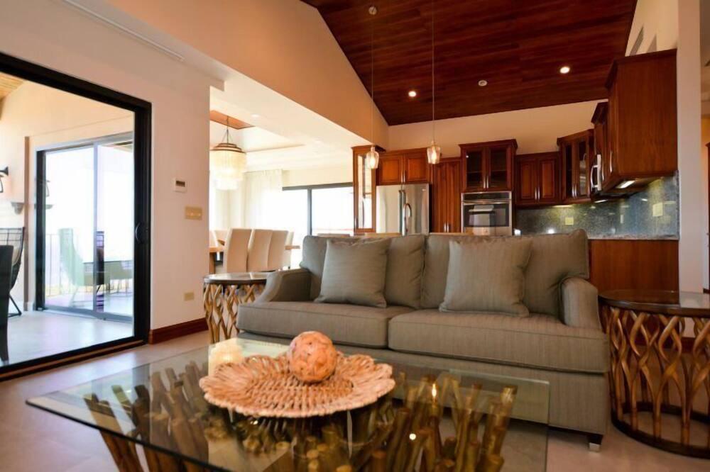 Apartamento de lujo, 2 habitaciones, acceso a la piscina, vistas al mar - Zona de estar