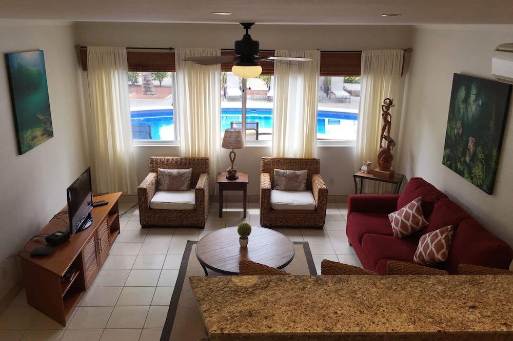 Luksuzni apartman, 2 spavaće sobe, pristup bazenu, pogled na bazen - Dnevni boravak