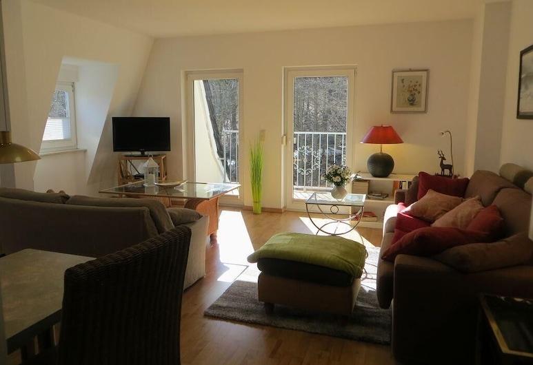 Weißes Haus am Kurpark, Fewo Bergblick, Quedlinburg, Apartment, Wohnzimmer