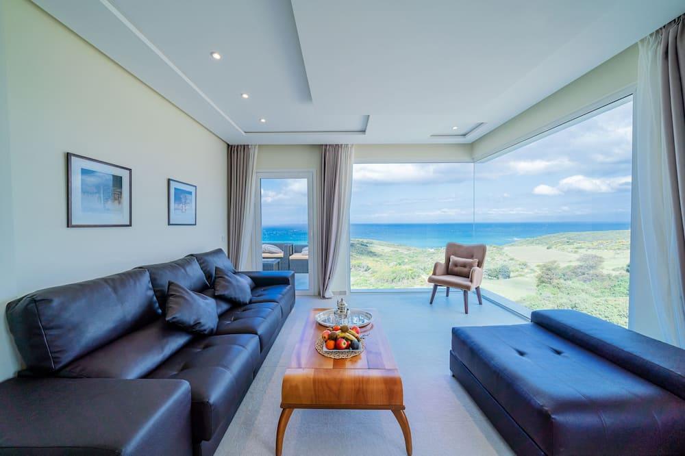 Apartmán s panoramatickým výhledem, 1 ložnice, výhled na moře - Obývací pokoj